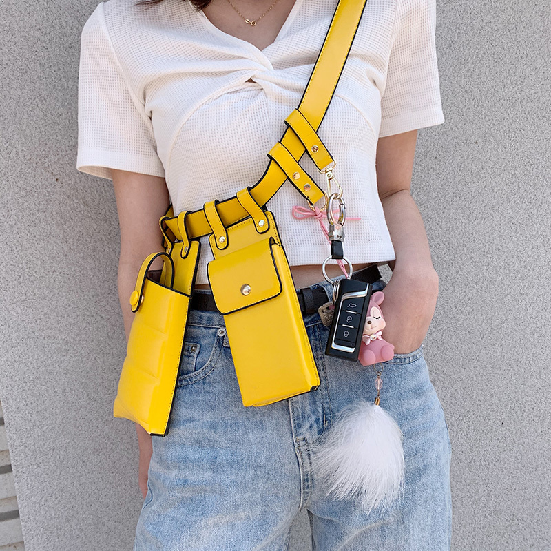 Women Waist Bag Fashion Leather Waist Belt Bag Crossbody Chest Bags Girl Fanny Pack Small Phone Pack Shoulder Strap Packs