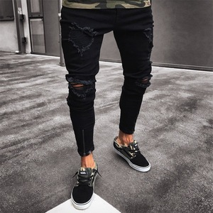 2020 Mens Cool Designer Brand Black Jeans Skinny Ripped Destroyed Stretch Slim Fit Hop Hop Ripped zippers for casual jeans Men