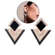 Retro Women Rhinestone Inlaid Rhombus Triangle Dangle Stud Earrings Jewelry Gift rhombus triangle faux gem necklace