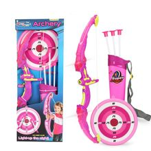 Light Up Archery Bow and Arrow Toy Set for Boys Girls With 3 Suction Cup Arrows, Target, and Quiver