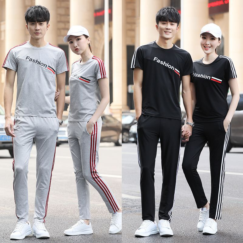 New Style Summer Sports Set Men And Women High School Uniform Business Attire Set Couples Short Sleeve Trousers Casual Customiza