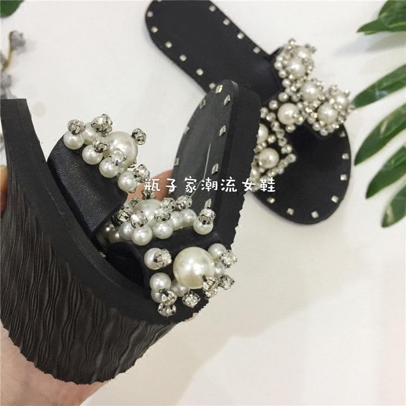 2017 printemps été haut cristal strass solide perle plage tongs nouvelles pantoufles perle à lanières appartements romain sandale femme - 3