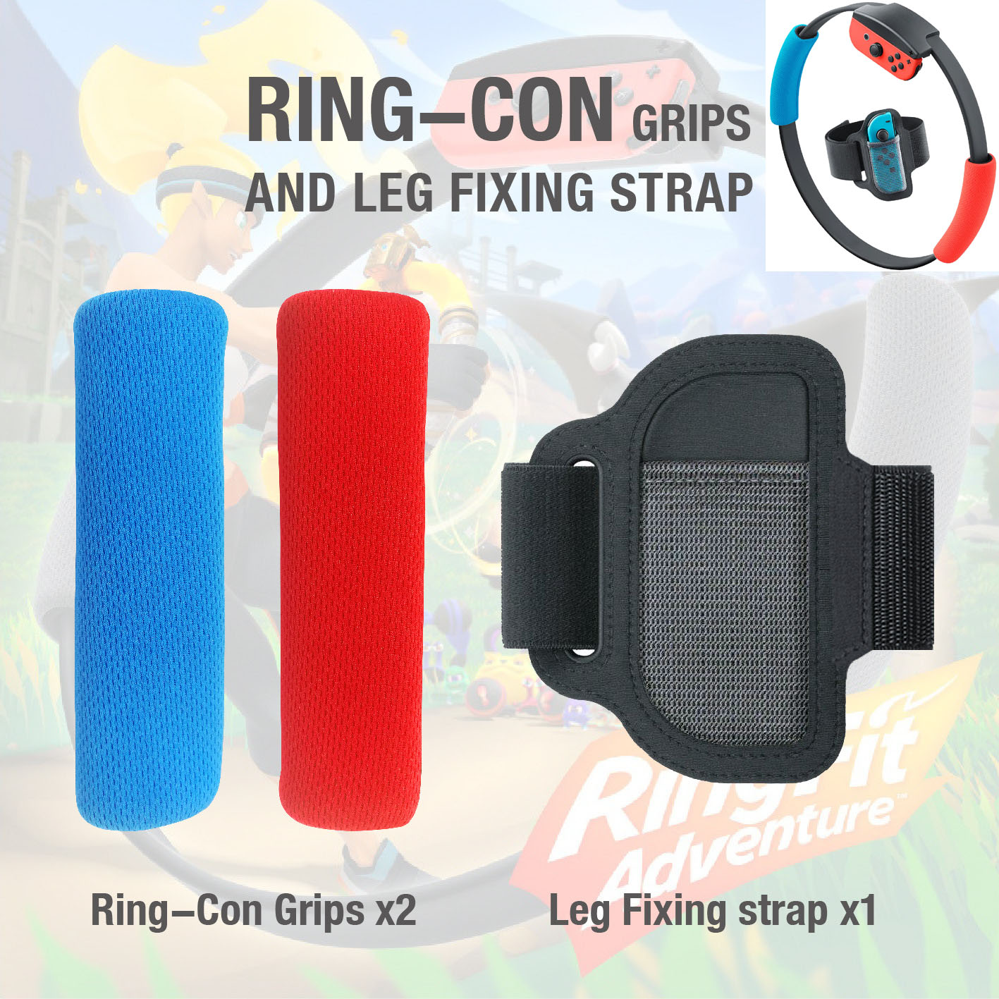 Adjustable Elastic 56cm Leg Fixing Strap Sport Band + Non-Slip Ring-Con Grips For Nintend Switch Joy-con Ring Fit Adventure Game