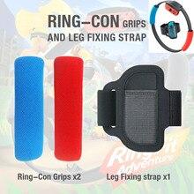Correa elástica ajustable de 56cm para fijación de piernas, banda deportiva + empuñaduras de anillo antideslizantes para nintendo Switch Joy Con Ring Fit Adventure Game