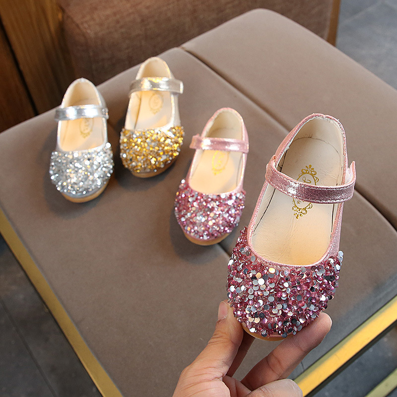 Spring Autumn New Children's Leather Shoes Girls Princess Rhinestone Shoes Kids Student Dance Shoes Non-slip Baby Toddler Shoes