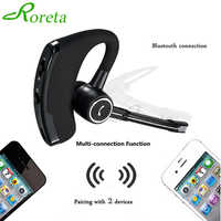 Roreta Stereo Drahtlose Bluetooth Kopfhörer Freihändig Business Headset mit mikrofon Musik Kopfhörer Für iPhone IOS Android