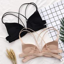 Women Back Beautify Ladies Front Closure Wire Free Fashion Bra Sexy Padded Lingerie Bralette Gather Push Up #734