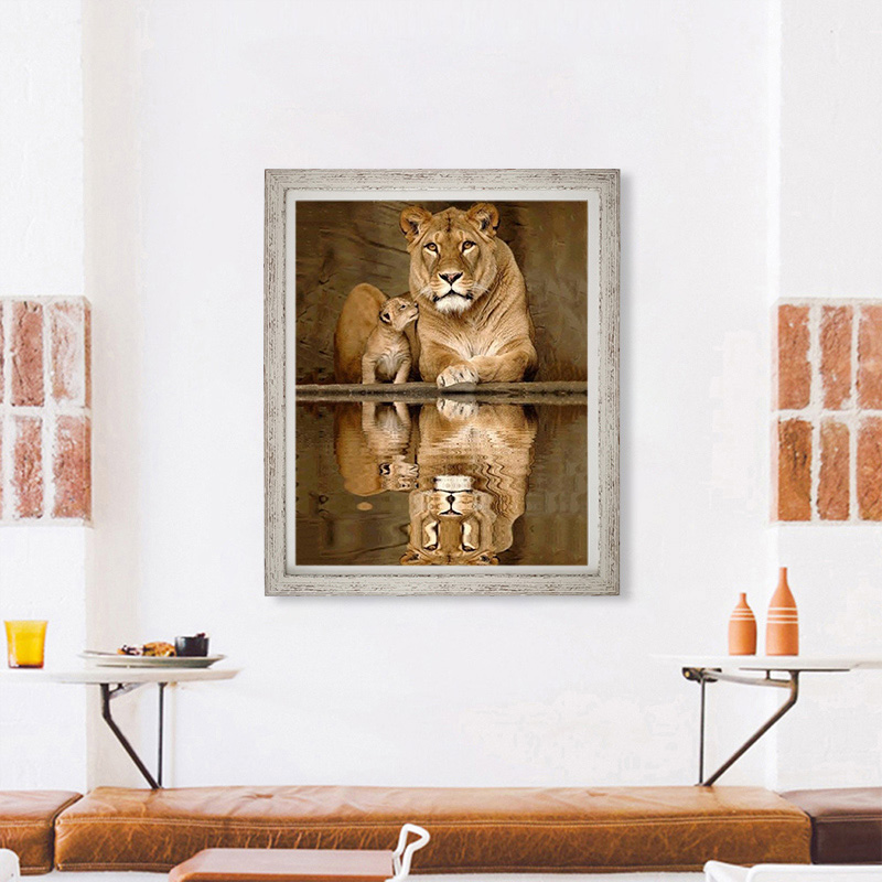 5D Diamond Painting Tiger Lion Embroidery Cross Crafts Stitch Kit Home Decor