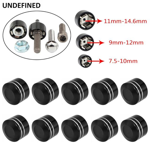 10pcs Motorcycle Schrauben Motor Bolt Topper Cover Cap CNC Inner 9mm 12mm For Harley Twin Cam Touring Dyna Softail Black