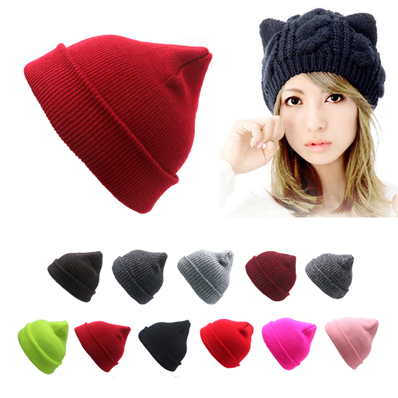 Fashion Winter Women Hat Hip-hop Girls Knitted   Beanie   Hat Cute Bear Ear Solid Color Hip-hop Bonnet Hat Unisex Outdoor Ski Cap