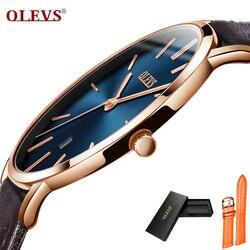 OLEVS رقيقة جدا الأزياء الذكور ساعة اليد الأعمال Watchband جلد الساعات للماء مقاومة للخدش ووتش ساعة G5869P