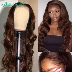 Pelucas de cabello humano con encaje de colores delanteros n. ° 4 para mujeres negras, pelucas de cabello humano ondulado brasileño, peluca de encaje Remy prearrancada, pelo de Asteria