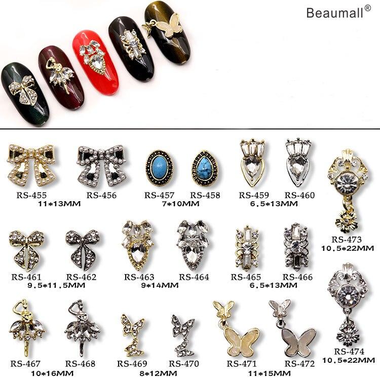 10 шт./лот, 3d дизайн ногтей, элегантный дизайн, сплав с жемчугом, кристаллами, стразами, Типсы для ногтей, красота