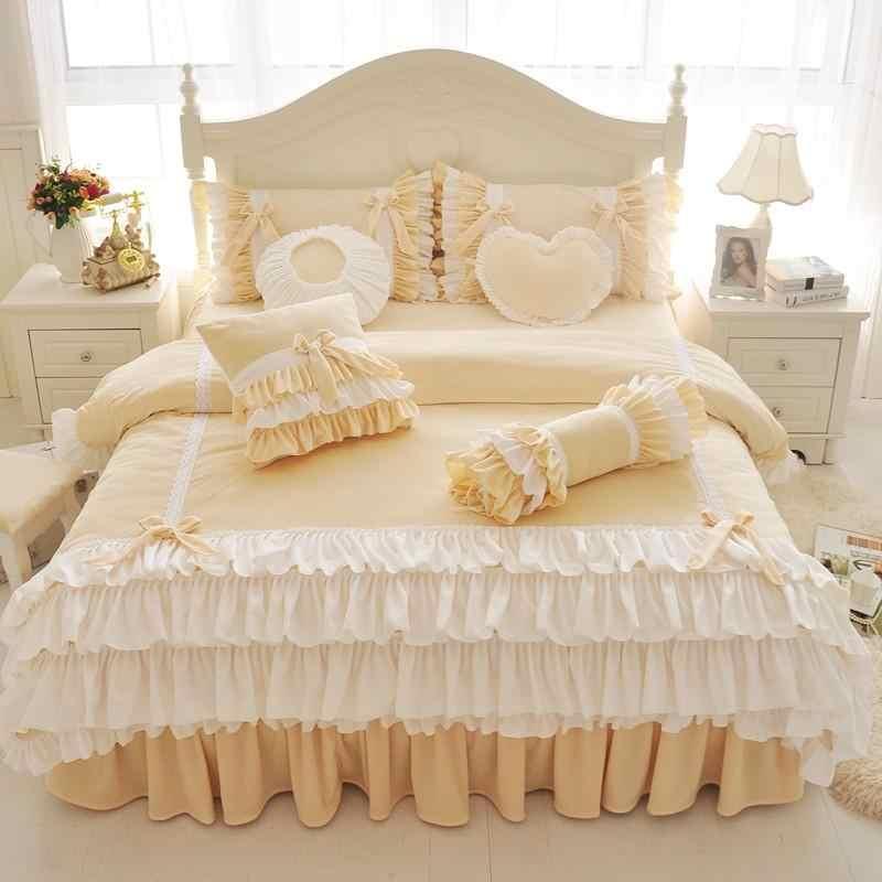 Комплект постельного белья из плотного флиса в Корейском стиле для девочек, Комплект постельного белья для King, Queen, Twin, розового, желтого, фиолетового цветов, пододеяльник, юбка для кровати, подарки