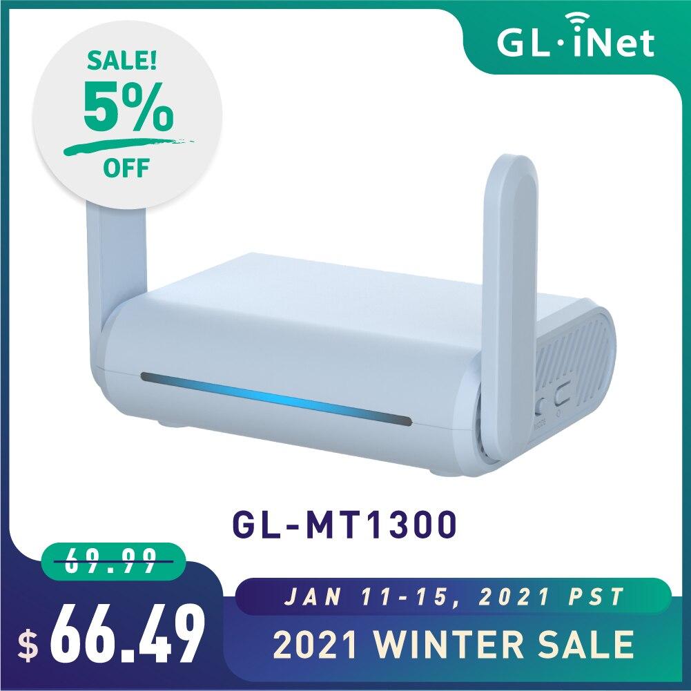 GL.iNet Beryl (GL-MT1300) гигабитный двухполосный маршрутизатор Wi-Fi для путешествий с поддержкой IPv6 OpenWrt LED Предварительно установленсветодиодный