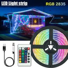 5V 2835 taśmy LED oświetlenie dekoracyjne USB pilot na podczerwień lampa wstążkowa na festiwal Party sypialnia podświetlenie RGB tanie tanio NONZHU CN (pochodzenie) SALON 30000 PRZEŁĄCZNIK 2 88 w m Epistar intelligent Smd2835 LED Strip 5M R CR2025(not include)