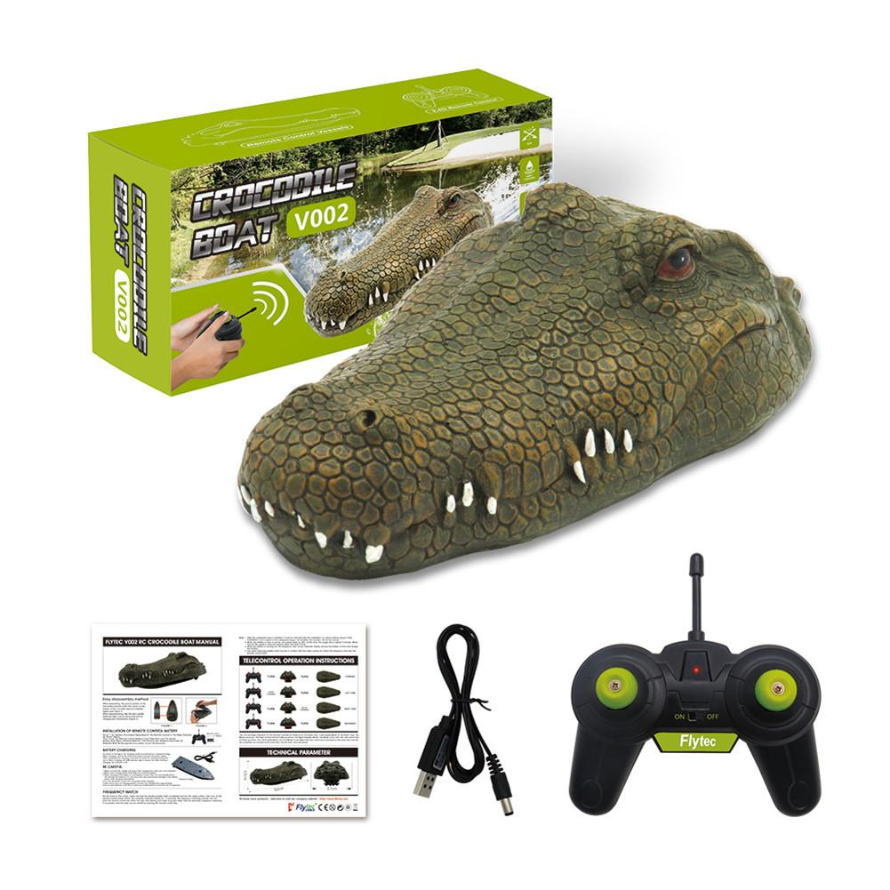 Flytec V002 2.4GHz Simulation Crocodile RC Boat Toy Water Floating Remote Control Ship Speedboat Toys For Children