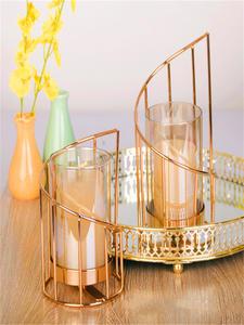 Candle-Holder Table-Decoration Iron Crystal Geometric Romantic Golden European Stick