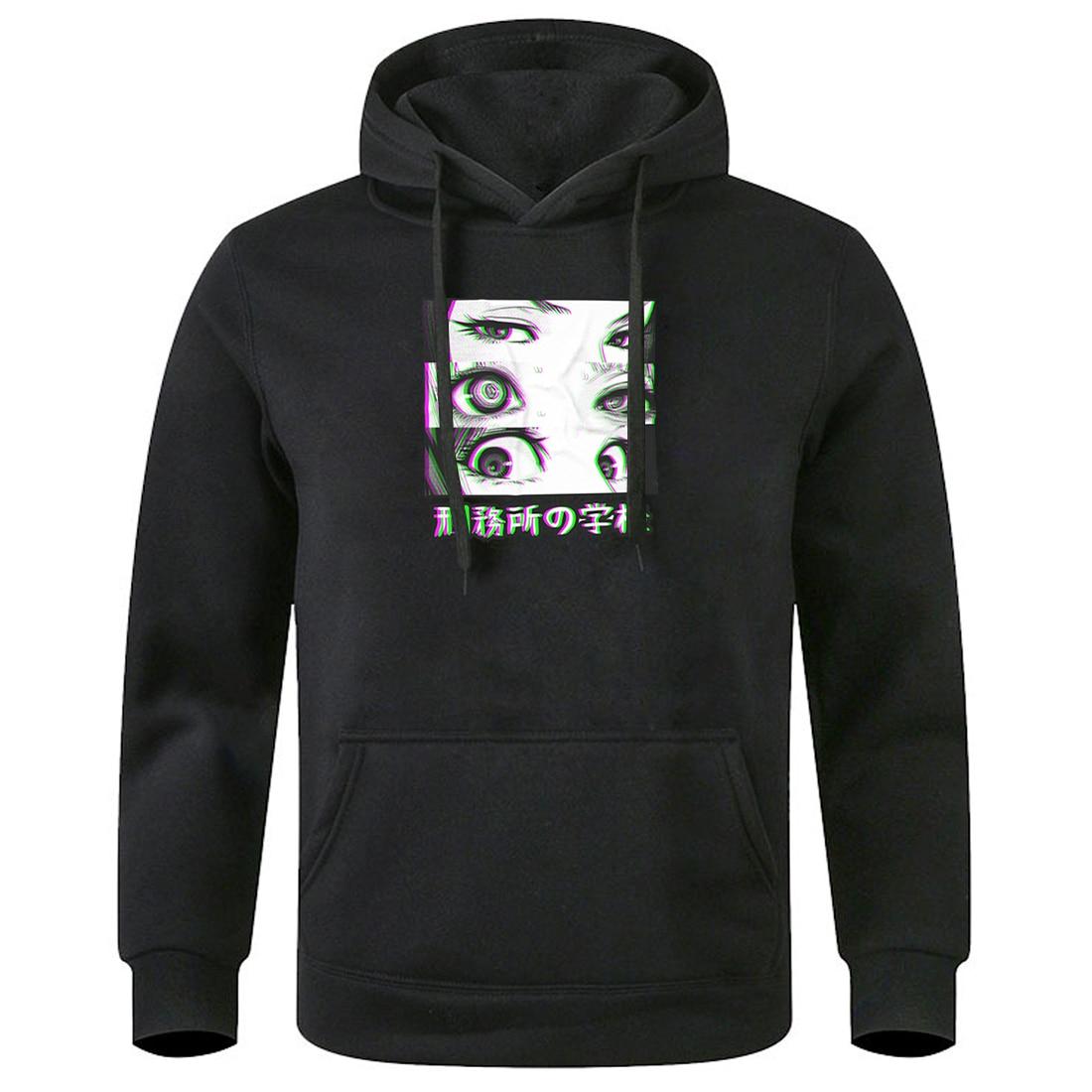 Homme Hooded Clothes Prison School Eyes Sad Hoody 2020 Keep Warm Fall Winter Sweatshirts Fashion Hipster Harajuku Hoodies Mans