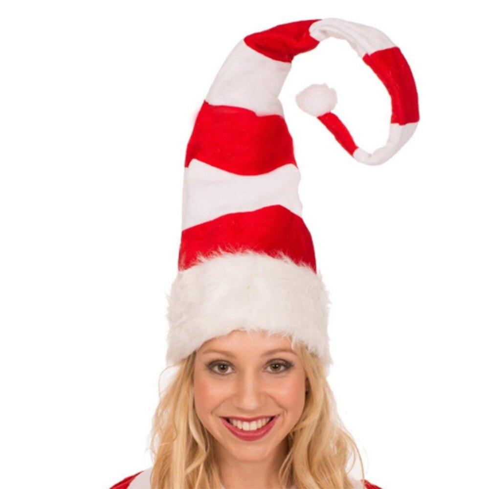 Christmas Cap Plush Xmas Red Cap Santa Stripe Hat for Christmas Party (4)