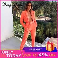 Beigerfayl 2019 Pants Suit Blazer Neon With Belt Traje Elegante De Mujer Tailleur Femme Pantalon Et Veste Elegant Women S1734091