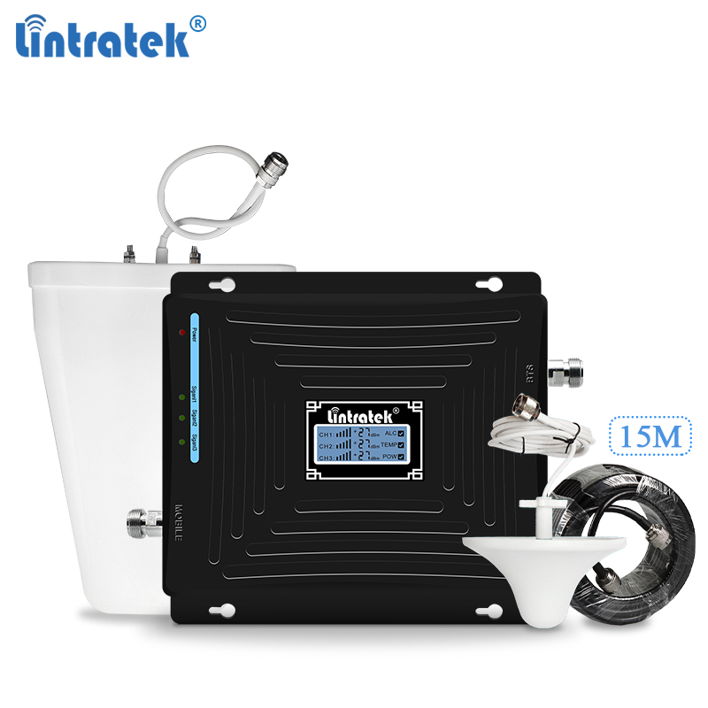 Lintratek GSM Signal Booster 3G 4G Repeater 1800 Amplifier 3G 2100 Booster GSM 2G 3G 4G Tri Band Repeater Ampli 900 2100 1800