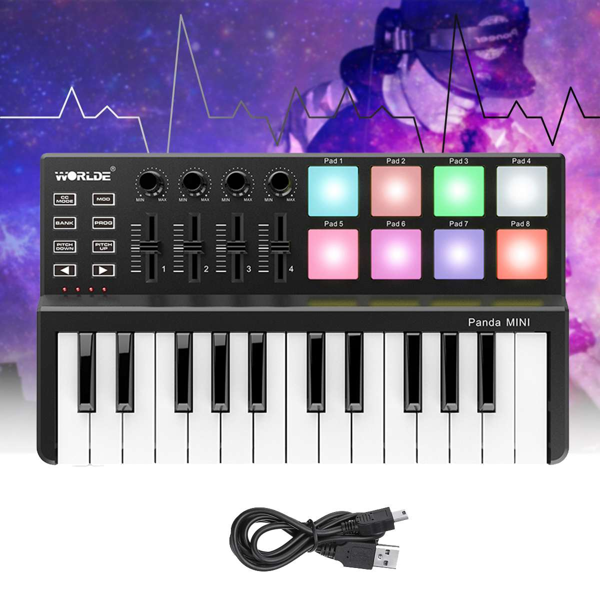 Worlde Panda Portable MINI 25-Key Ultra-Portable USB MIDI Keyboard Controller 8 Colorful Backlit Trigger Pads