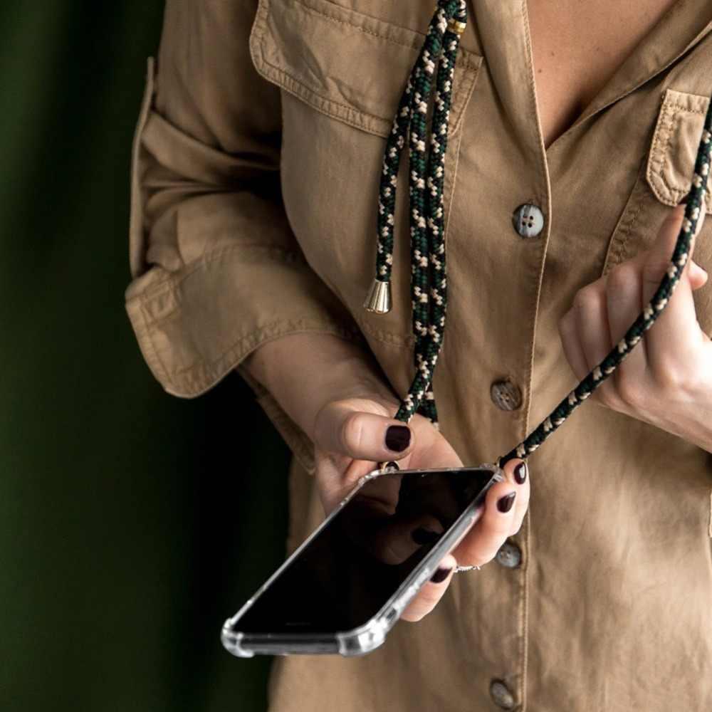 ネックレスストラップ電話ケース lg 6 グラム G7 プラス V50 thinq V20 V30 V40 Q6 Q9 Q60 K50 K40 q9 K11 ソフトクリアストラップコードチェーンカバー