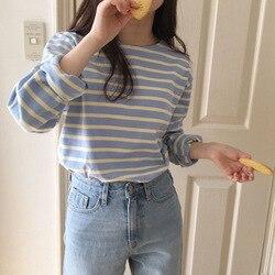 Camiseta de manga larga para mujer primavera y otoño 2019 nuevo estilo coreano de ajuste suelto estudiantes versátil Hipster rayas Base Shi