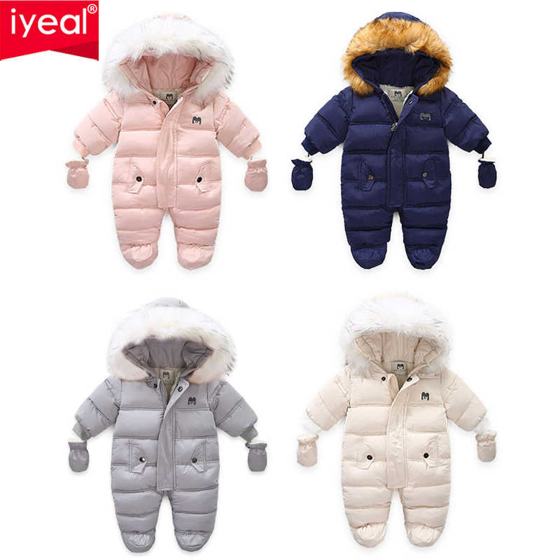 IYEAL חורף בגדי תינוקות עם ברדס פרווה יילוד חם צמר גבתון תינוק חליפת שלג פעוט ילדה ילד שלג ללבוש להאריך ימים יותר מעילים