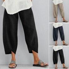 Feminino casual harem calças cor lindo perna larga cintura tamanho grande
