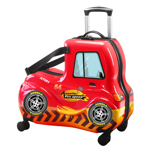 """24""""3D Car Cartoon Ride On Suitcase Children Rolling Luggage Spinner Suitcase With Wheels"""