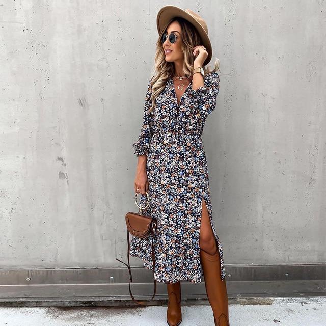 Autumn V Neck Long Floral Print Dress For Women 2021 Casual Long Sleeve Split Dress Female Boho Elegant Maxi Party Vestidos 5