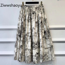 Ziwwshaoyu High Quality Cotton Hand Painted Printed Long Skirt  Women Vintage Designer Autumn Female Midi