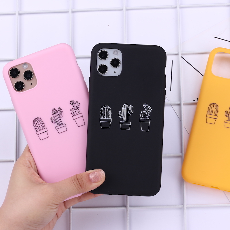 Plants Cactus Bees Simple Candy Phone Cover For iPhone 12 11 Pro Max X XS XR Max 7 8 7Plus 8Plus 6S Soft Silicone Case Fundas