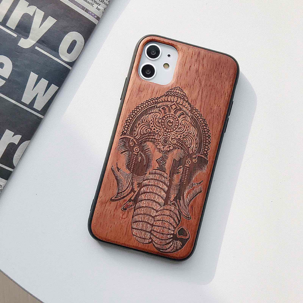 Natural Laser Carving Wooden Phone Case For iPhone 12 Pro Max 5