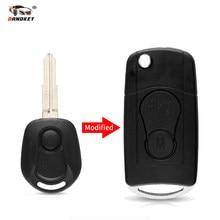 Dandkey, 10 uds, mando a distancia, funda plegable para llave de coche, carcasa Fob para Ssangyong Actyon SUV, Kyron, reemplazo, 2 botones, sin cortar, cubierta en blanco