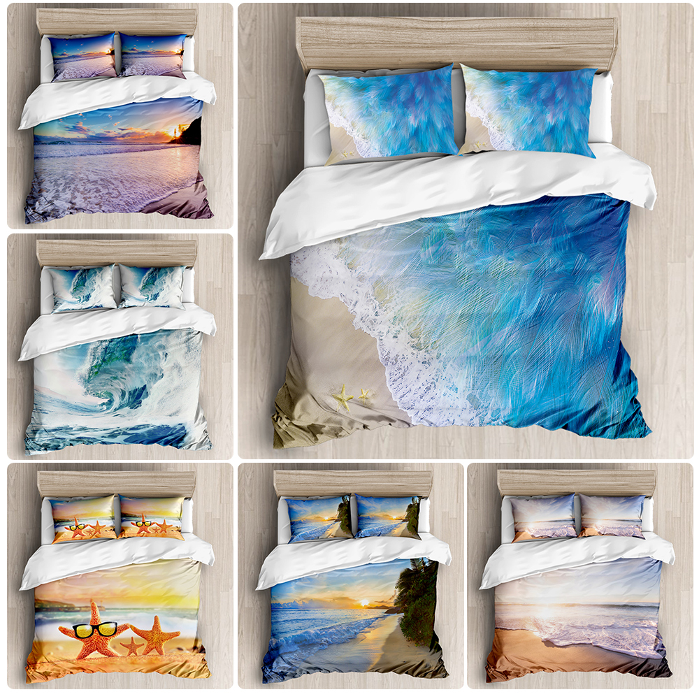 2020 new summer beach series luxury duvet room Bedding Set luxury Duvet Cover Bedding Set printing duvet cover extra large|Bedding Sets| |  - title=