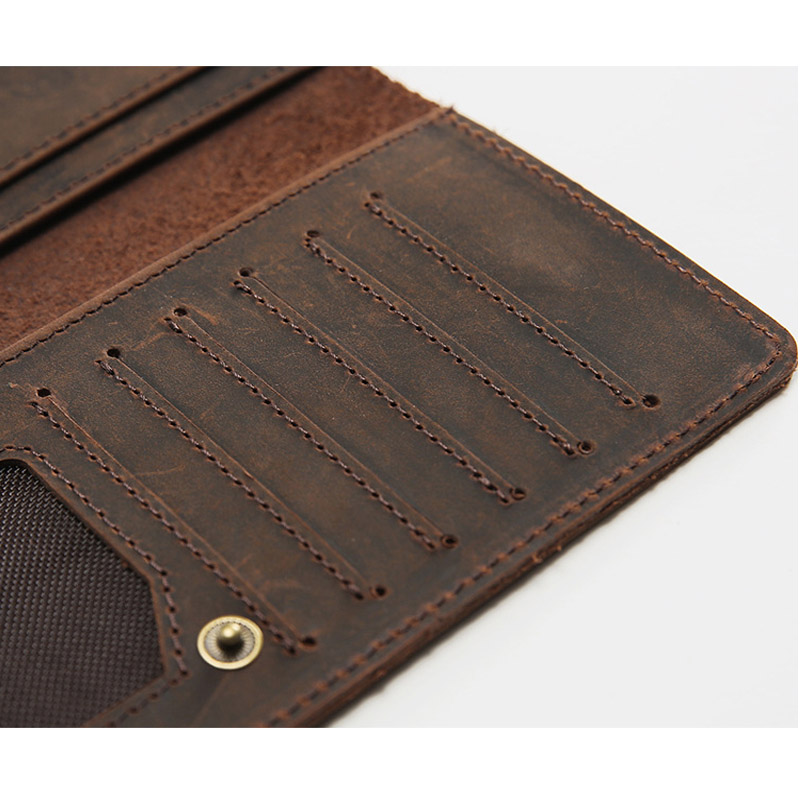 Image 4 - Thin Simple Money Clip for Men Crazy Horse Genuine Leather Holders for Checkbooks Vintage Leather Long Wallets Slim BillfoldWallets   -