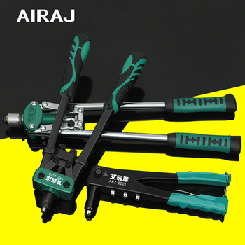 AIRAJ 17-inch Heavy Duty Double-handle Rivet Gun Industrial Automatic Riveting Tool Manual Riveting M3.2 M4.0 M4.8 airaj 8 10 12 inch industrial heavy duty pipe wrench adjustable anti corrosion rust and plumbing repair tools
