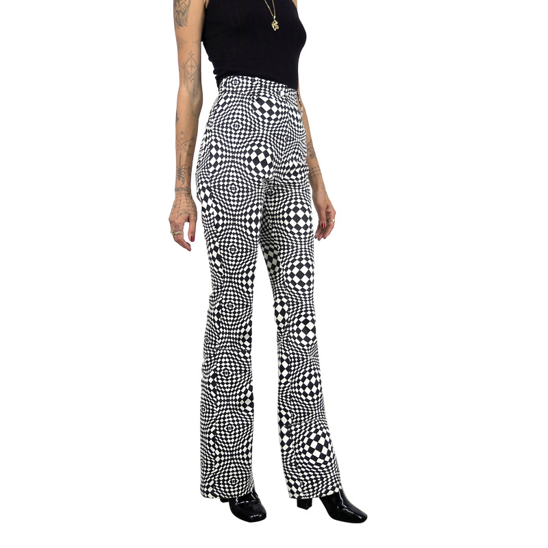 Plaid Print High Waist   Pants   2019 Autumn New Loose Women   Wide     Leg     Pants   Streetwear Casual Ladies Trousers Pantalones De Mujer