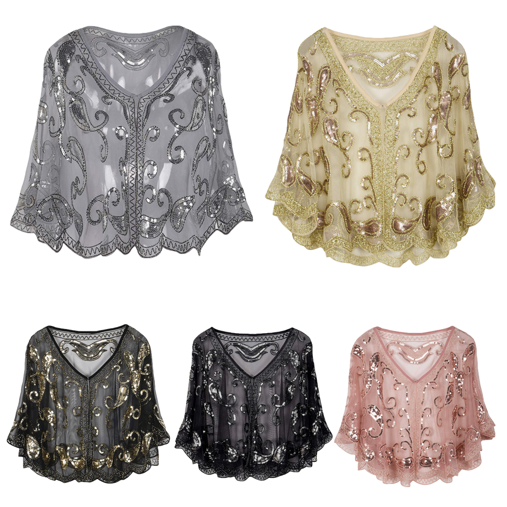 Vintage Women 1920s Sequin Shawl Wrap Poncho Elegant Lady Shiny Sequins Evening Party Bride Wedding Cape Bolero Flapper Cover Up
