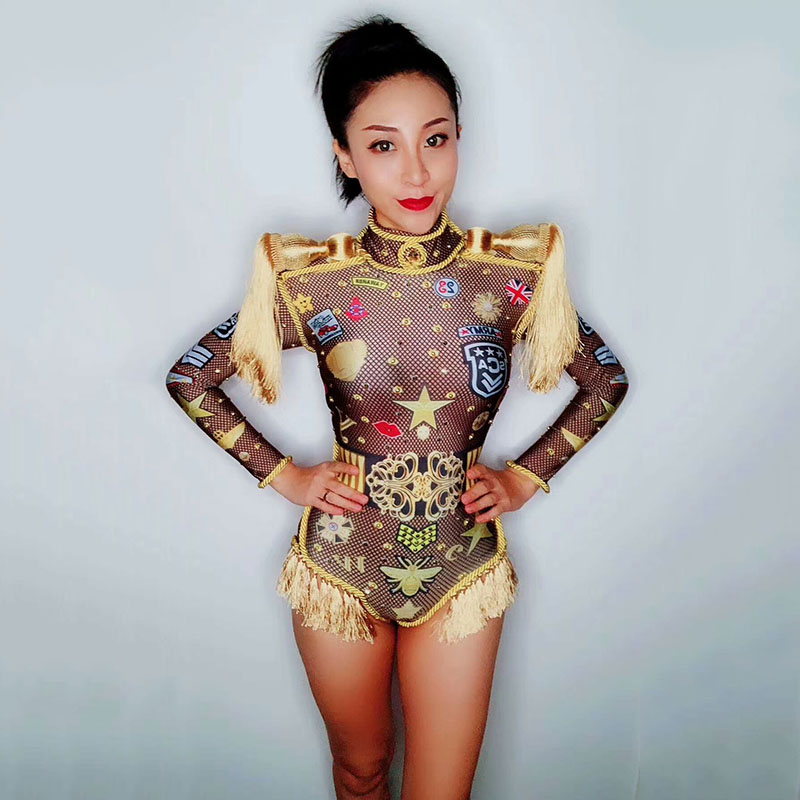 Jumpsuit Dj Rhinestones One Piece Bodysuit Costume Printed Epaulettes Tassel Stretch Adult Stage Costume Outfit Singer Clothing