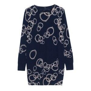 Image 5 - Yisu 스웨터 드레스 여성 긴 풀오버 2019 가을 겨울 오 넥 긴 소매 스트레이트 드레스 간단한 원형 패턴 프린트 드레스