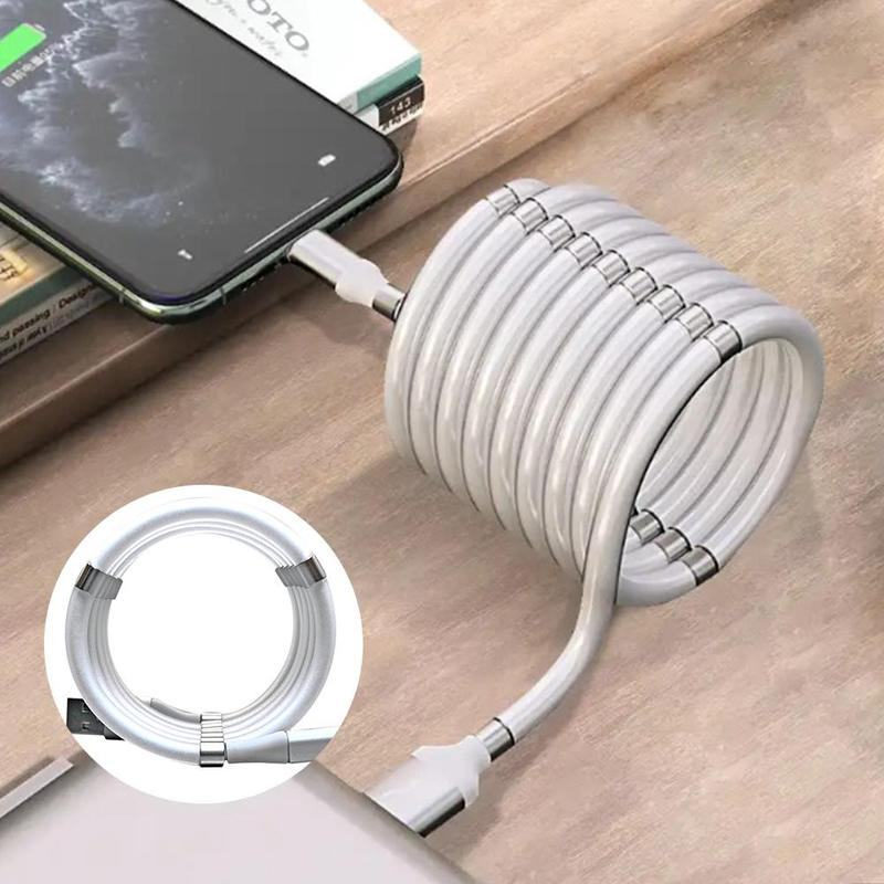 <font><b>3in1</b></font> Magnetic Absorption Data Charger <font><b>Cable</b></font> 360 Degree Magnetic Charging <font><b>Cable</b></font> For Android Apple Type-c Quick and easy storage image