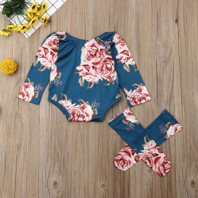 0-24M Infant Newborn Baby Girls Romper Autumn Clothes Flower Jumpsuit+Leg Warmers Outfit Cute Baby Girl Costumes 3