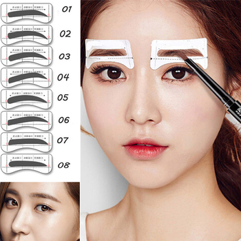 16PCS Professinal Eyebrow Template Stickers Eye Brow Eyebrow Stencils Drawing Card Stencil Card Easy Makeup Beauty Tools