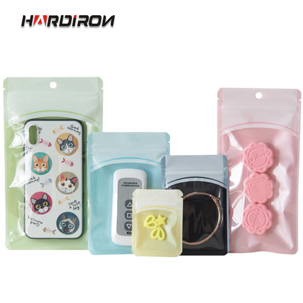 HARDIRON Colored Pearl Flm Plastic Zipper Bag Hairpin Capsule With Sunroof Self-sealing Packaging Bag Hanging Hole Small Packet