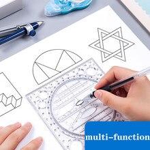 Regla de dibujo multifuncional creativa, regla de plantilla transparente para Manual de medición de Estudiante de pintura, diseño de manual de instrucciones