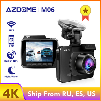 AZDOME WiFi Car DVRs Recorder M06 4K/2880*2160P Dash Cam Dual Lens Vehicle Rear Camera Built in GPS WDR Night Vision Dashcam